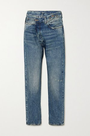 Crossover Asymmetric Distressed Boyfriend Jeans - Mid denim