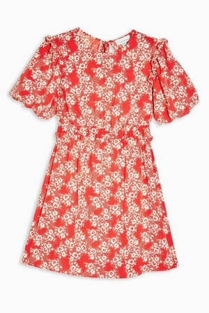 PETITE Red Floral Print Puff Sleeve Mini Dress | Topshop