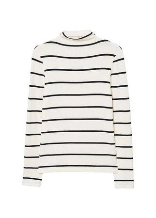 MANGO Striped turtleneck t-shirt