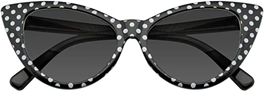 Polka Dot Cat Eye Womens Fashion Mod Super Cat Sunglasses (Black, 0) at Amazon Women's Clothing store