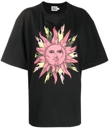 sun print cotton T-shirt