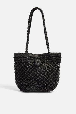 FIZZLE Black Straw Tote Bag | Topshop