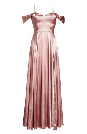 Sequin Hearts Cold Shoulder Satin Evening Gown | Nordstrom