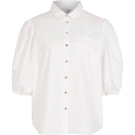 White puff sleeve poplin shirt | River Island