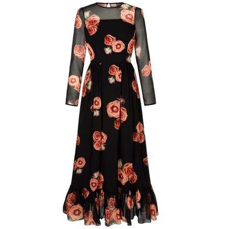 Black/Orange Floral Evening Dress