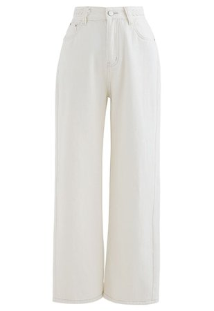 Braid Detail Straight-Leg Jeans in White - Retro, Indie and Unique Fashion