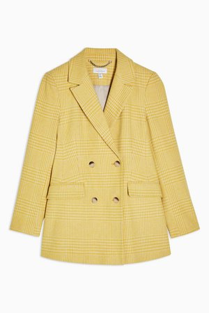 Yellow Check Double Breasted Blazer   Topshop