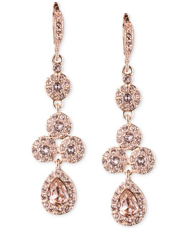 Givenchy Rose Gold-Tone Swarovski Element Linear Drop Earrings & Reviews - Fashion Jewelry - Jewelry & Watches - Macy's