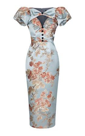 Puff-Sleeve Floral Jacquard Draped Midi Dress By Rasario   Moda Operandi