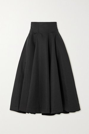 Pleated Linen And Cotton-blend Midi Skirt - Black