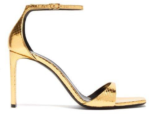Bea Metallic Snakeskin-embossed Leather Sandals - Gold
