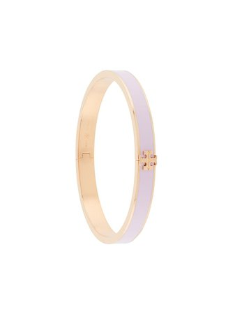 Shop pink & gold Tory Burch logo-plaque enamel bangle with Express Delivery - Farfetch