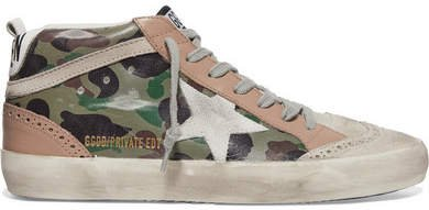 Mid Star Distressed Camouflage-print Leather And Suede Sneakers - Army green