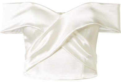 Halfpenny London - Kelly Off-the-shoulder Stretch-duchesse Satin Bustier Top - White