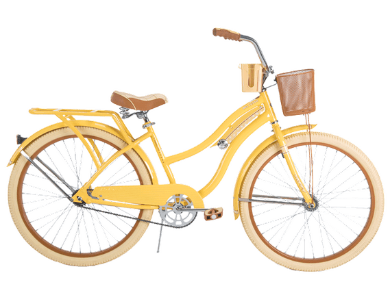 Nel Lusso Women's Cruiser Bike, Yellow | Perfect Fit Frame | 26-inch, 56598 | Huffy