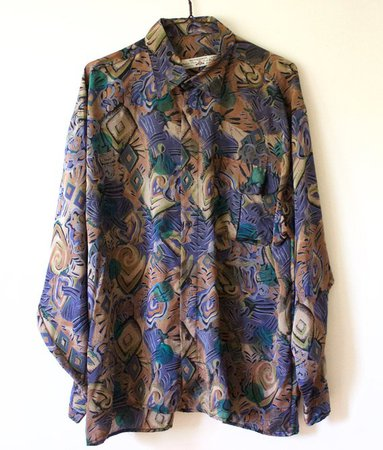 Vintage Men's Purple Green Brown Abstract Button Up Shirt   Etsy