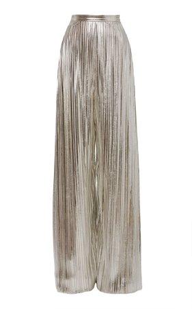 Metallic Plissé-Lamé Wide-Leg Pants by Rodarte   Moda Operandi