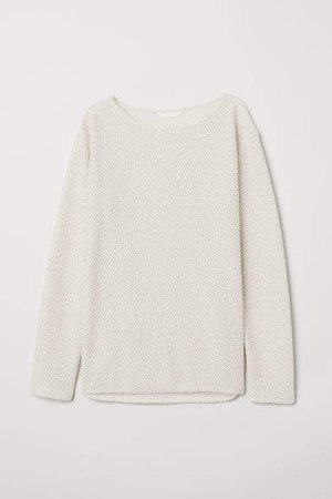Boat-necked Jersey Top - White