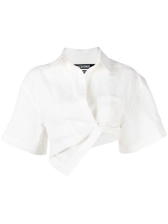 Shop white Jacquemus asymmetric-hem short-sleeve top with Express Delivery - Farfetch