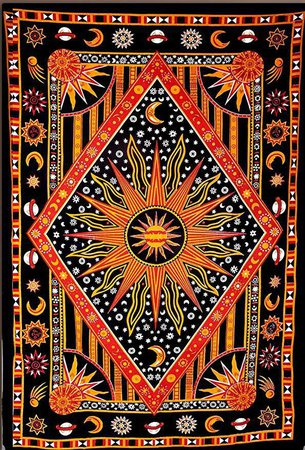Amazon.com: ModTradIndia - Celestial Sun Moon Stars Planet Tapestry, Indian Hippie Wall Hanging , Bohemian Bedspread, Mandala Cotton Dorm Decor Beach blanket: Home & Kitchen