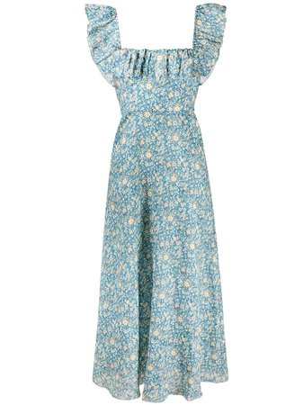 Shop blue & yellow Zimmermann Carnaby ruffle-neck dress with Express Delivery - Farfetch
