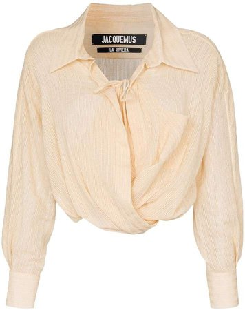 Jacquemus draped tie-front cropped cotton shirt