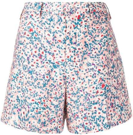 floral-print flared shorts