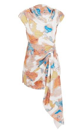 Multi Printed Shoulder Pad Draped Bodycon Dress | PrettyLittleThing USA