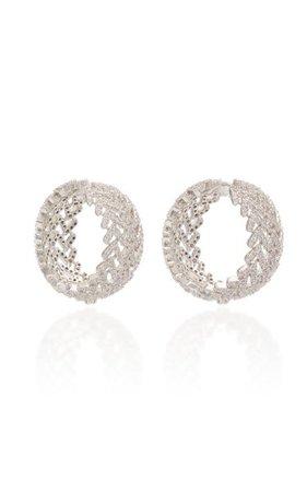 Laurel Pave Crystal Rhodium-Plated Hoop Earrings By Fallon | Moda Operandi