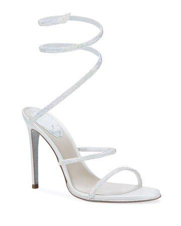 Rene Caovilla Shimmery Crystal Satin Snake Sandals | Neiman Marcus