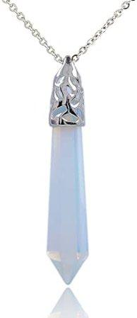 """Amazon.com: Sky Blue Brazilian Agate Gemstone Hexagonal Pointed Reiki Chakra Pendant Necklace 20"""": Jewelry"""