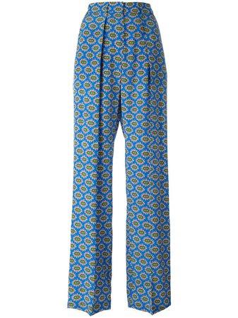 MSGM print palazzo pants 2242MDP120174352 blue   Farfetch