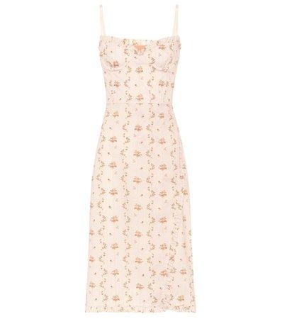 Floral cotton bustier dress