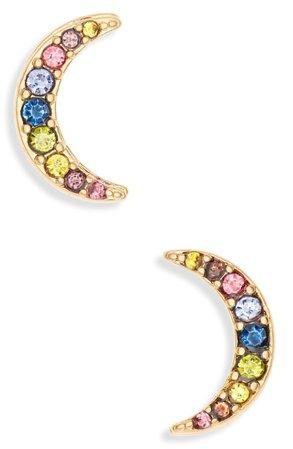 Madewell Rainbow Pavé Moon Stud Earrings | Nordstrom