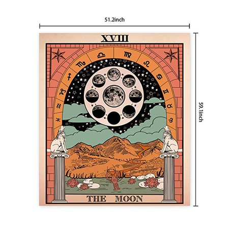 Amazon.com: Sevenstars Tarot Tapestry The Moon Tapestry Medieval Europe Divination Tapestry Wall Hanging Mysterious TapestryforRoom: Home & Kitchen