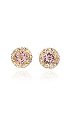 Jamie Wolf 18K Yellow Gold Diamond Edge Morganite Stud Earring