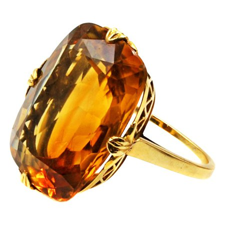 Tiffany and Co. Art Deco Citrine 18 Karat Gold Ring For Sale at 1stdibs