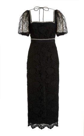 Self Portrait Square-Neck Lace Midi Dress
