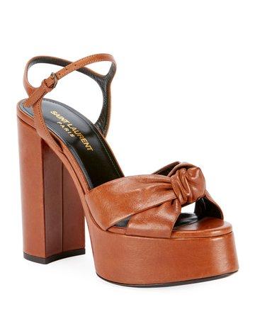 Saint Laurent Knotted Leather Platform Sandals | Neiman Marcus