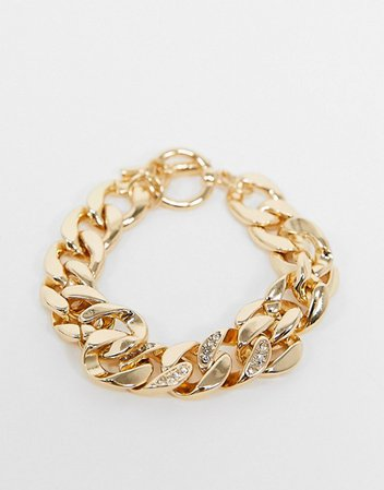 Topshop chunky chain bracelet in gold with crystal detail | ASOS