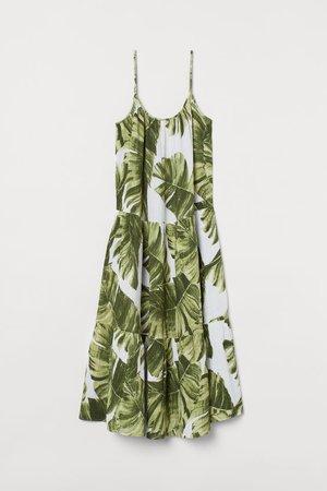 Crinkled cotton dress - White/Palm leaves - Ladies   H&M GB