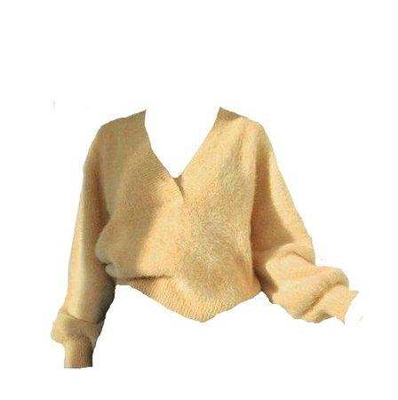 yellow fuzzy sweater