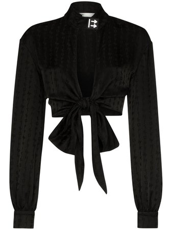 Off-White Cropped front-tie Blouse - Farfetch