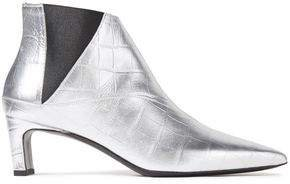 Metta Metallic Croc-effect Leather Ankle Boots