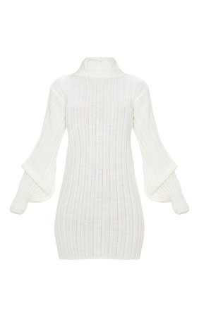 Cream Roll Neck Ribbed Knitted Jumper Dress   PrettyLittleThing