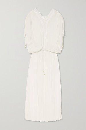 Mirita Crochet-trimmed Pleated Silk-tulle Dress - White