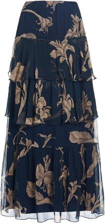Johanna Ortiz Printmaker Tiered Maxi Skirt