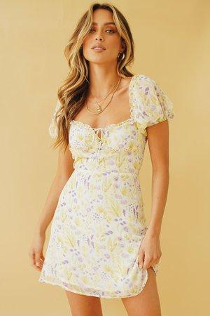 Summer Portrait Tie Front Mini Dress // Floral – Verge Girl