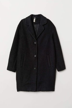 Wool-blend Boucle Coat - Black
