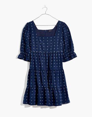 Square-Neck Puff-Sleeve Babydoll Dress